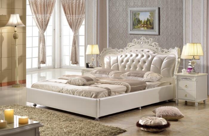 Mobilier de chambre king size synthétique en cuir lit fait dans ...