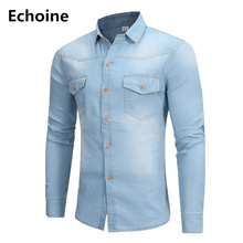 Men Long Sleeve Denim Shirt Blue Casual for Male Jeans Cardigan Fashion Two-pocket Slim Fit