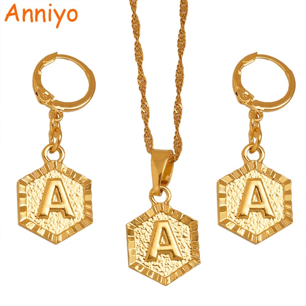 Anniyo A-Z Letters Gold Color Small Pendant Initial Necklace Chains for Women English Letter Jewelry Gifts #131906S