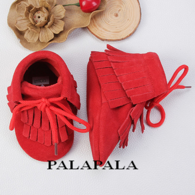 New Genuine Leather Soft Bottom Baby Shoes Toddler Lace Up Baby Moccasins Infant Double Fringe Tassel Shoes Free shipping
