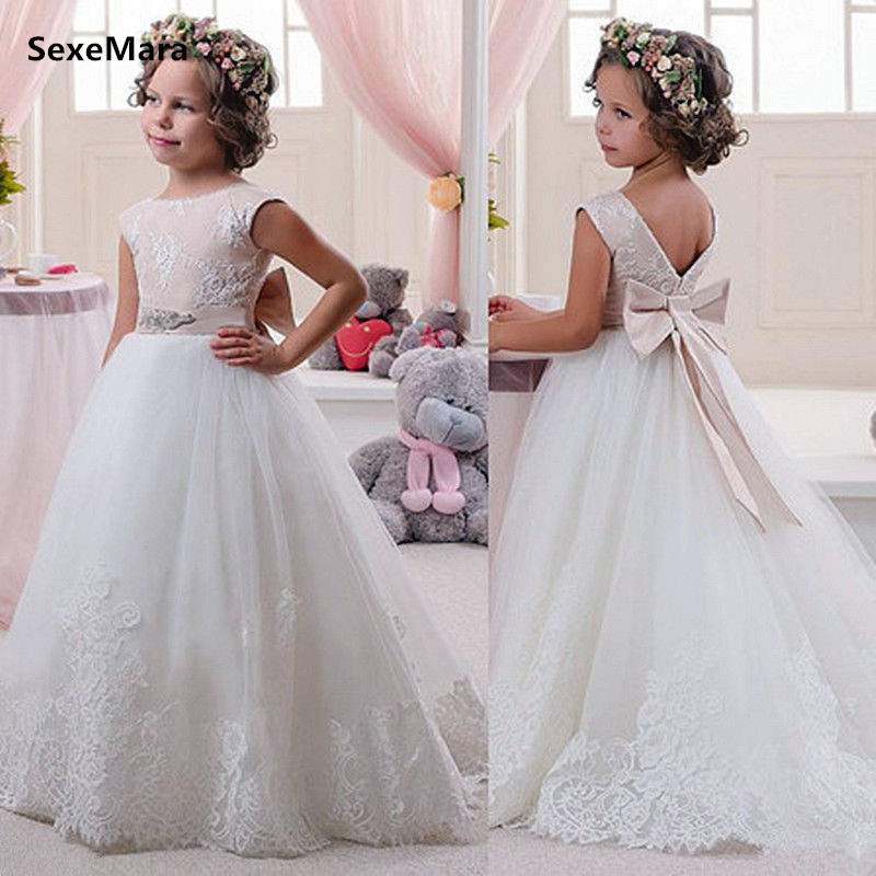Fancy New Flower Girl Dresses A Line Lace Applique Birthday Dress Christmas Dress with Bow Ribbon Glitz Size 0-16Y все цены