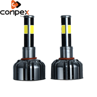 2pcs Car Headlight Bulbs LED 12V H4 H7 H11 LED canbus Car Lights two ways vortex air cooling system four sided LED lamp beads