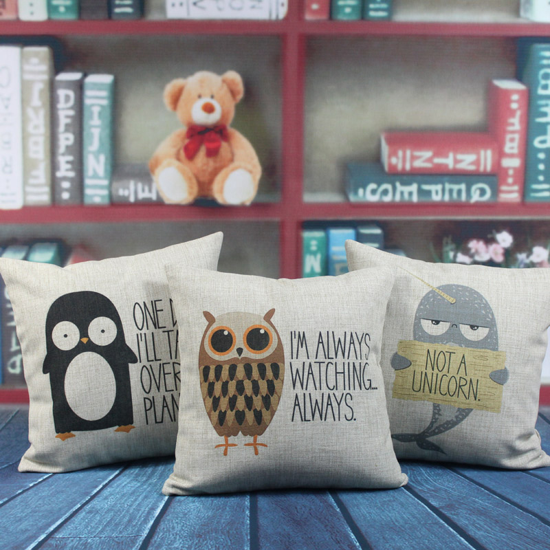 "LINKWELL 18""x18"" 1PC Kid Room Decoration Owl Dolphin"