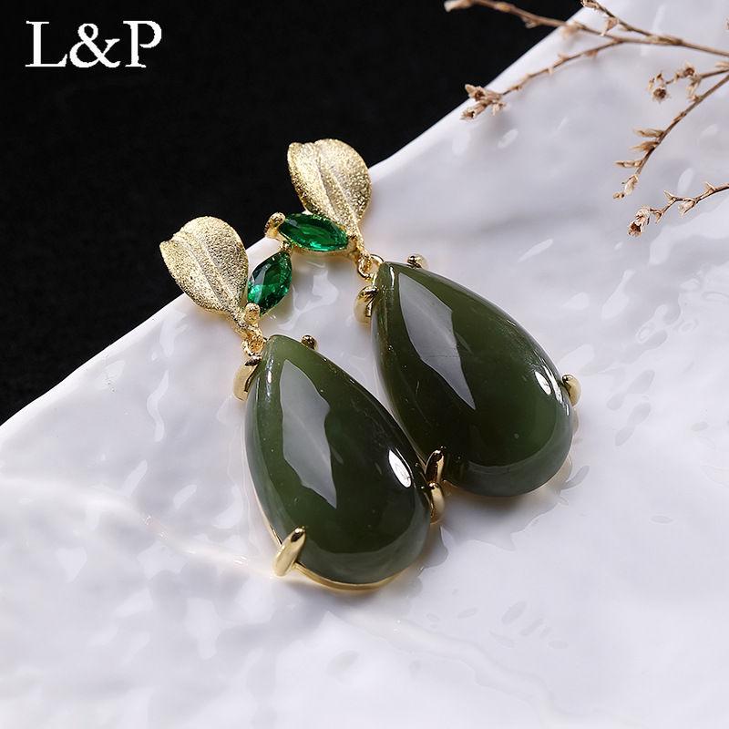 Genuine 925 Sterling Silver Gemstones Jasper Drop Earrings Elegant Golden Color Wedding Engagement Jewelry For Women
