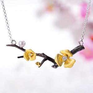 Image 2 - Lotus zabawy prawdziwe 925 Sterling Silver Handmade projektant biżuterii Delicated kwiat śliwy naszyjnik kwiatowy z łańcucha dla kobiet