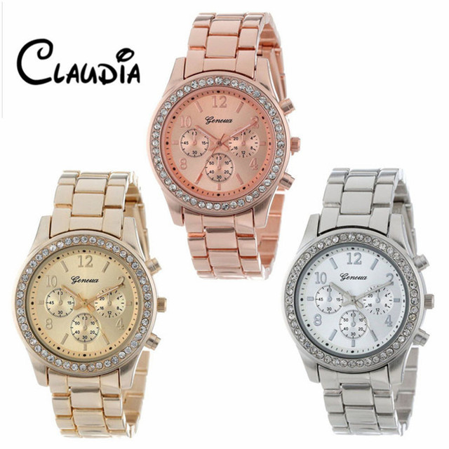 Watch 2018 CLAUDIA's Faux Chronograph Quartz Plated Classic Round Ladies Women C
