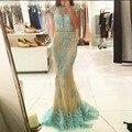 Sexy Laço Longo Sereia Vestidos de Noite Do Partido para o Casamento Turco Mulheres Sem Encosto Frisado Vestidos de Noite Formais Vestidos de Desgaste