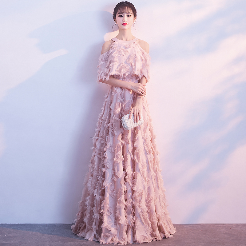 Elegant Pink   Evening     Dress   with Jacket Halter Off Shoulder Feather Long Formal   Dress   Luxury Special Occasion   Dresses   LF419