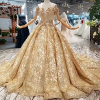 LS65885 luxury dubai evening dress off the shoulder sweetheart golden lace crystal women occasion dress china factory wholesale