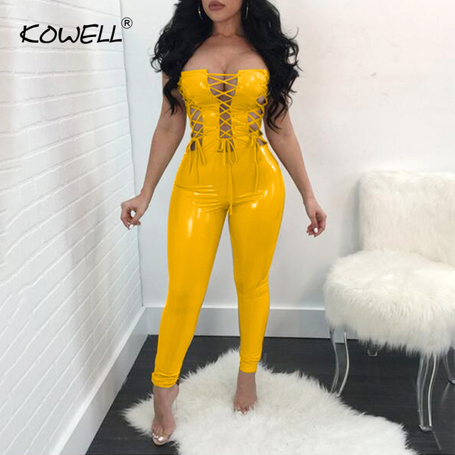 c6b8155856 2019 Lace Up Strapless PU Sexy Jumpsuit Women Off Shoulder Bandage Skinny Women  Rompers Hollow Out Backless Bodysuit Jumpsuit