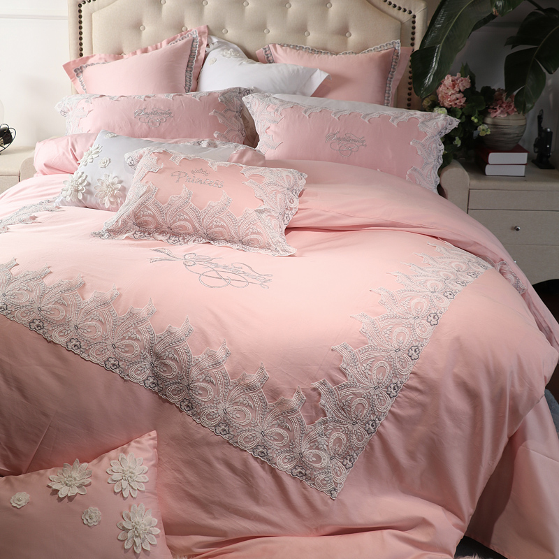 Luxury Egyptian Cotton Lace Princess Royal Bedding Sets Queen King Size Girls Bed Set Green Pink Duvet Cover Bed Sheet Set Gifts