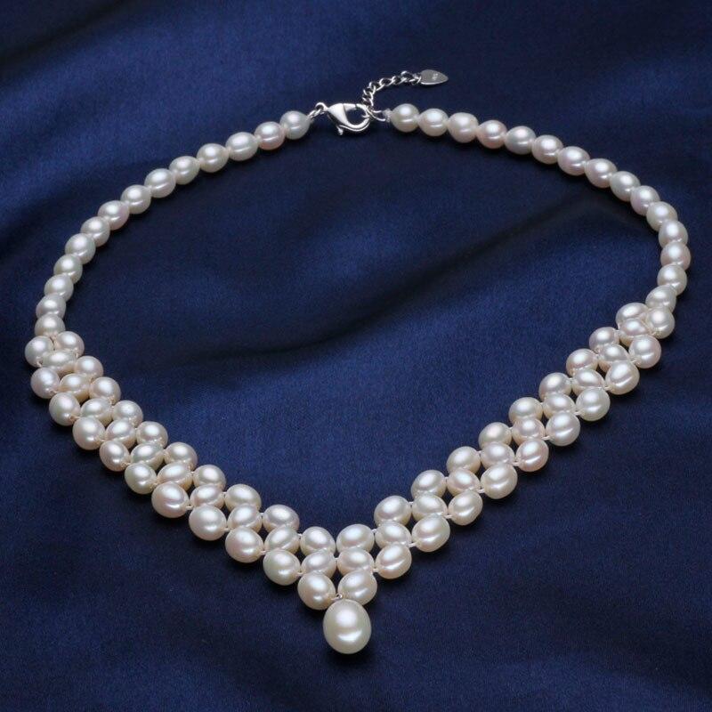 ASHIQI collier de perles d'eau douce naturelles avec véritable 925 fermoir en argent Sterling perle bijoux pour les femmes mariée mariage - 2