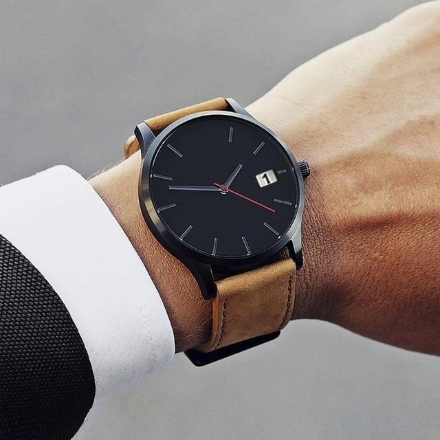 Reloj de pulsera para hombre 2019 Unisex moda cuero banda analógica cuarzo hombre reloj de pulsera minimalista montre homme erkek kol saati a5