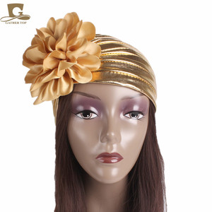 Image 5 - ใหม่แฟชั่นผู้หญิงหรูหรา king ดอกไม้ metallic Turban หมวกหมวก Bonnet Chemo หมวกมุสลิมผ้าพันคอ Hijab อิสลาม Turbante