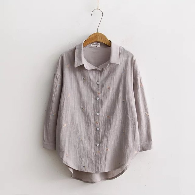 8169560427409 Women Summer Tops Long Sleeve Turn Down Collar Blouse Loose Fashion Korean Ladies  Shirt White Brown Ice Cream Embroidery 2017