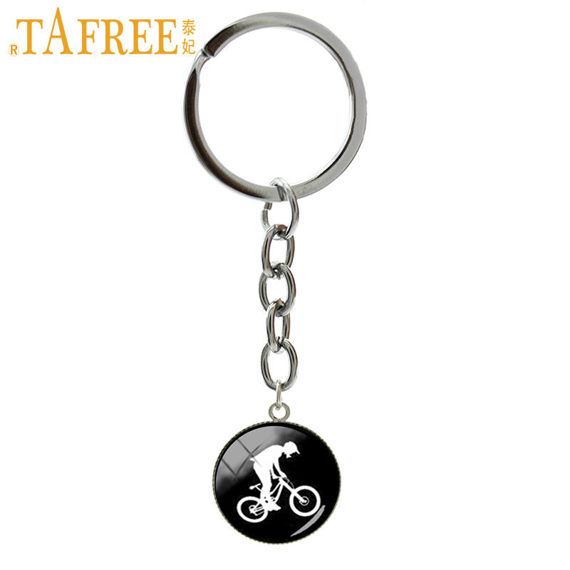 TAFREE Handcrafted MTB Biker silhouette profile image key chain bike stunt bicycle motocross sport keychain BMX men jewelry T709