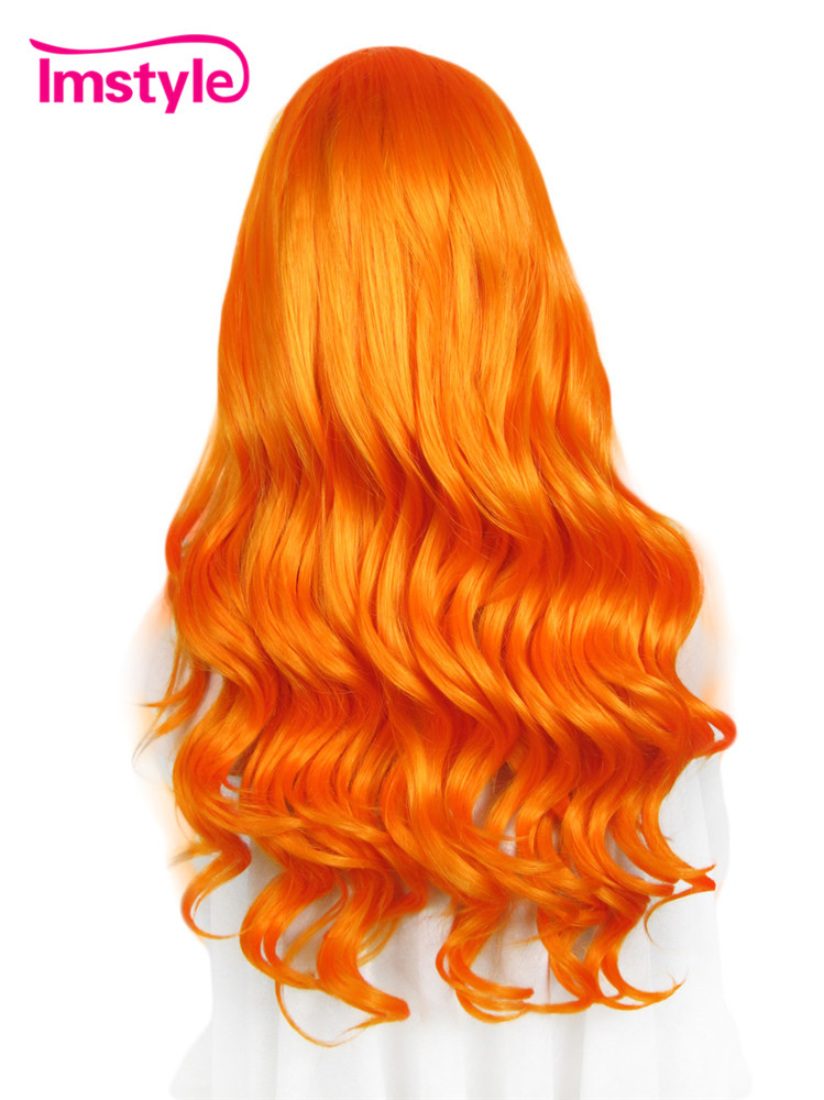 Imstyle Body Wave Drag queen cosplay wigs 24 inches orange blue synthetic hair Lace Front Wig for women