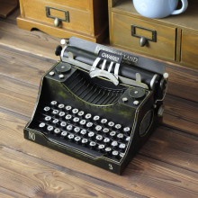 Retro Typewriter Model Figurine Prop Handicrafts Antique Marking Machine Miniatures Bar Coffee Shop Home Decoration