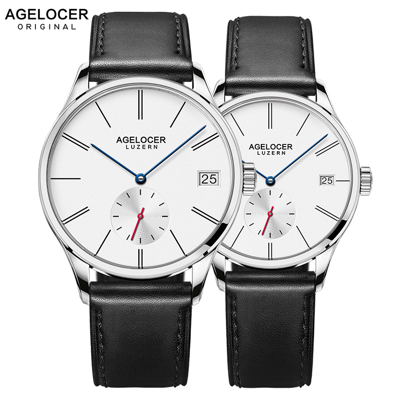 AGELOCER Swiss Men Mechanical Watches Couple Black Leather Watch Waterproof Clock Date Women Mens Wrist WatchesAGELOCER Swiss Men Mechanical Watches Couple Black Leather Watch Waterproof Clock Date Women Mens Wrist Watches