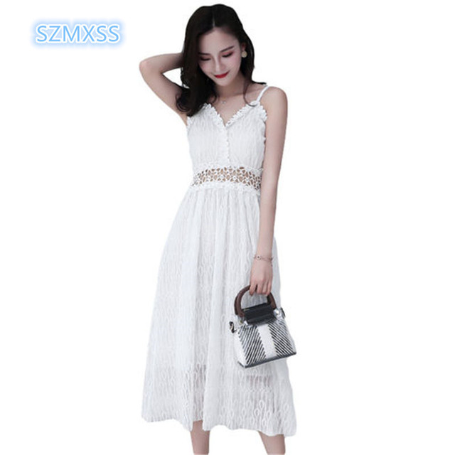 c9c1d0ea768d 2018 new summer women's dress fashion super Hot fire lace sling vest Hollow  Out dress sexy white black party lady's long dress