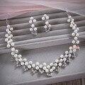 Conjuntos de jóias de noiva colar brincos acessórios do casamento pérolas de cristal colares set jóias acessórios de noiva