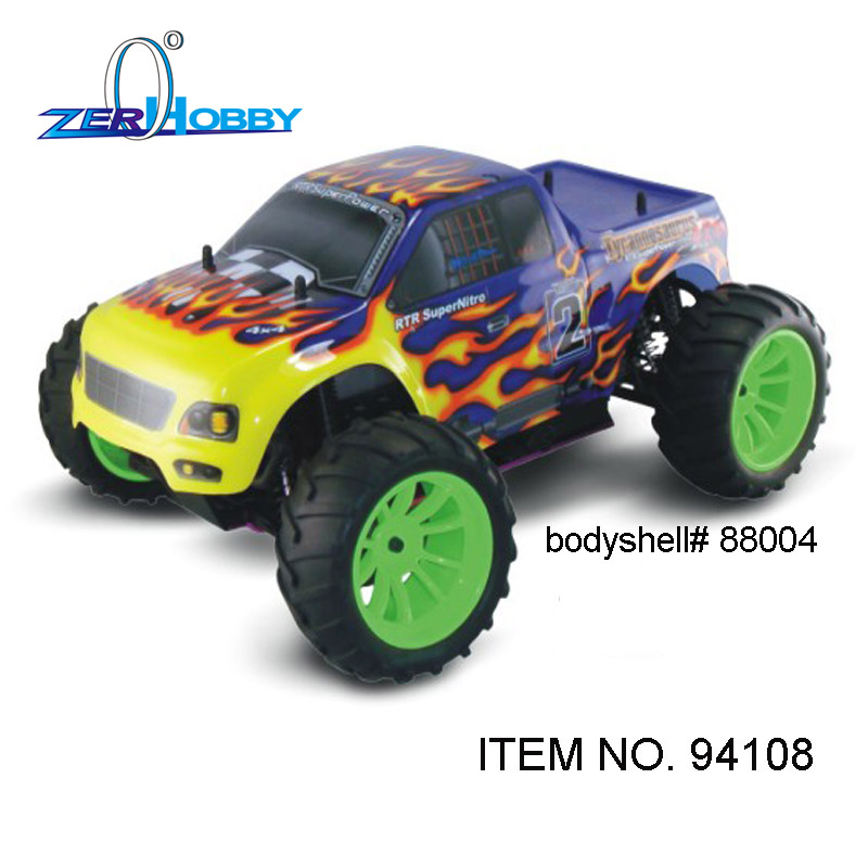 rc car hsp 1/10 nitro gasoline 4wd off road universal rtr monster truck (item no. 94108) - GLO STARTER INCLUDED 02023 clutch bell double gears 19t 24t for rc hsp 1 10th 4wd on road off road car truck silver