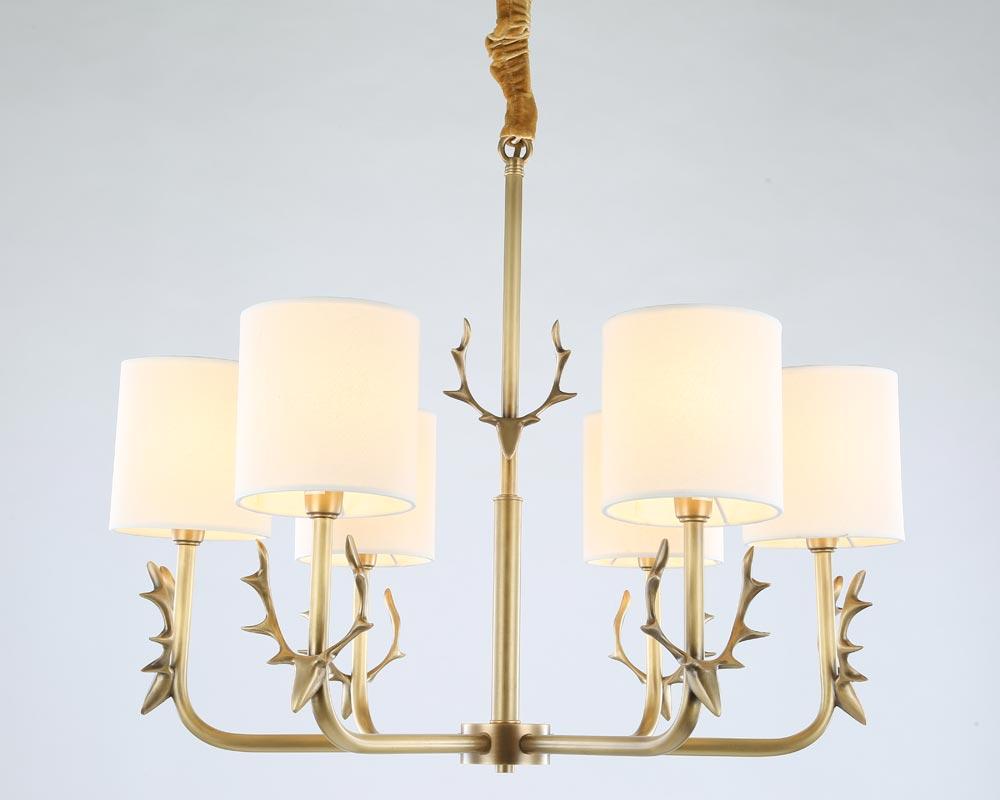 Moderno reale rame bronze antler lampadario per camera da letto