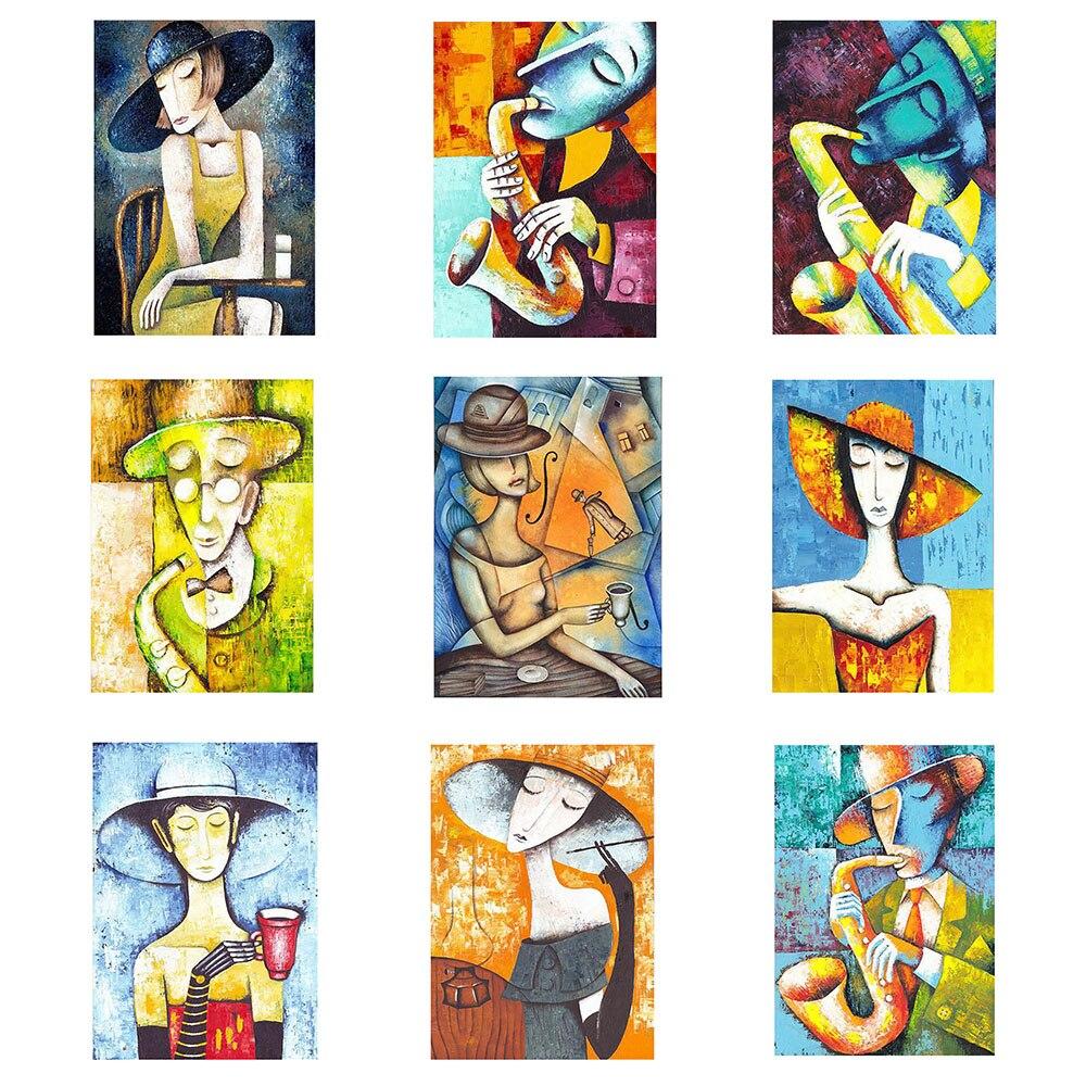 Elegant Lady Women Saxophone Gentlemen Abstract Style Art 5D DIY Diamond Embroidery Full Painting Cross Stitch