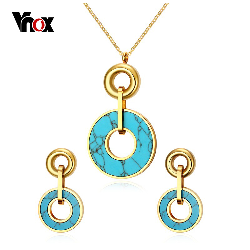 Vnox Vintage Jewelry Set for Women Gold-s