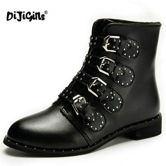 19272f839 € 13.9 10% de réduction|DIJIGIRLS nouveau cuir Rivets chaussons boucle  sangles talon épais noir bottines clouté décoré moto femme bottes dans ...
