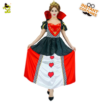 Deluxe Poker Queen of Hearts Cosplay Costumes Carnival Party Adult Women's Glamourous Heart Princess Decoration Fancy Dress