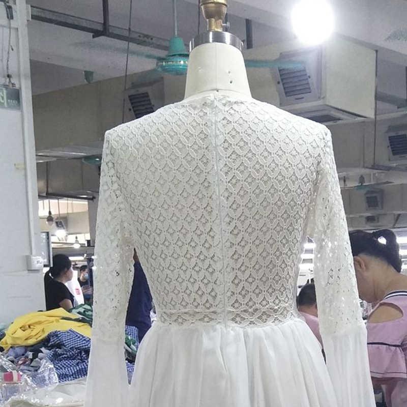 Uzzdss mulheres sexy vestido longo alargamento manga v pescoço branco borla oco boho laço maxi vestido de férias chique outono vestidos femininos