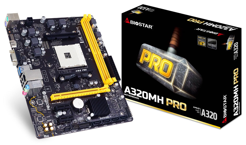 Full new Biostar A320MH PRO A320 Chipset AM4 Interface Desktop PC Motherboard Micro-ATX 2piece 100% new up6615a3 qfn chipset