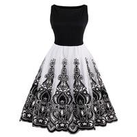 1950s Summer Vintage Dress O Neck Knee Length Black Patchwork Pin Up Party Dress Elegant Zippers