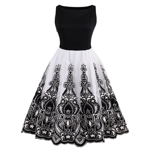 1950 S летнее винтажное платье с круглым вырезом длиной до колена черный Лоскутная Pin Up платье Элегантный молнии империи женский ретро Платья