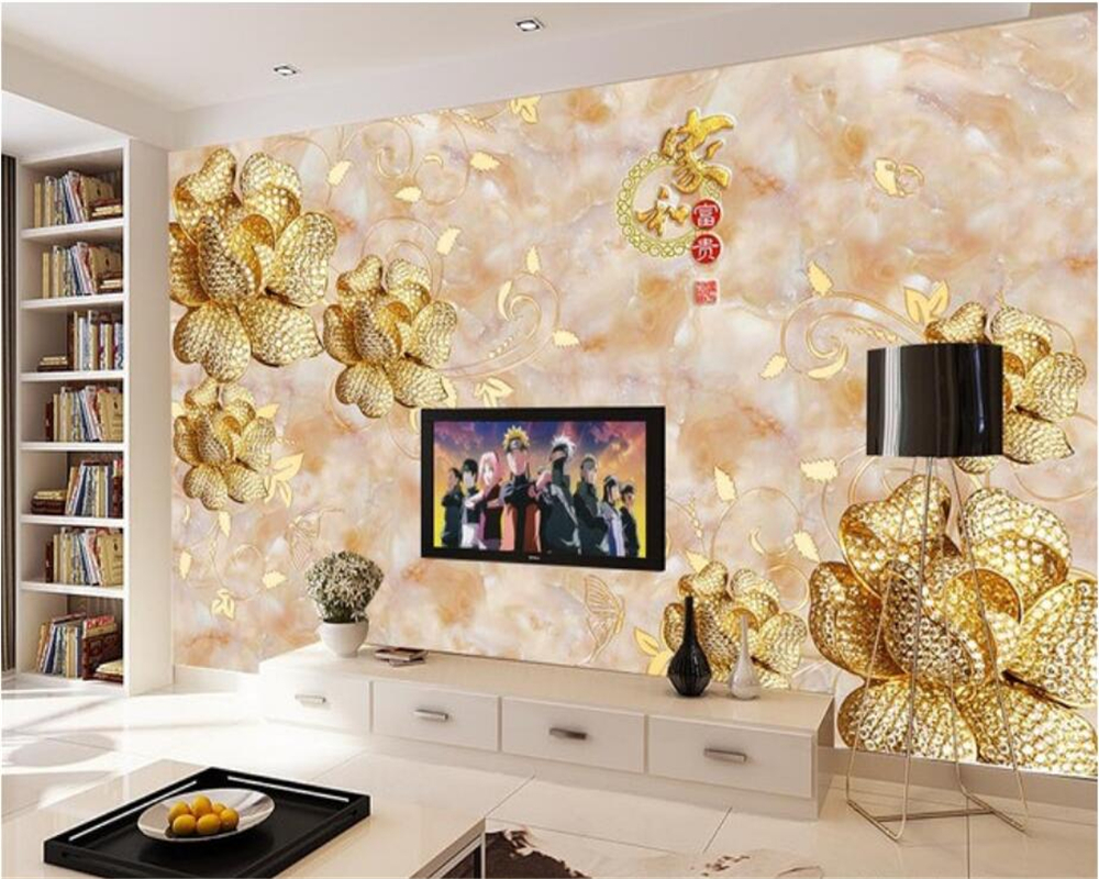 Beibehang 3D Wallpaper Marble Relief Gold Flower Living Room Bedroom TV Background Wall Mural photo wallpaper for walls 3 d beibehang 3d relief wallpaper modern pink sky blue wallpaper bedroom living room tv background wall wallpaper for walls 3 d