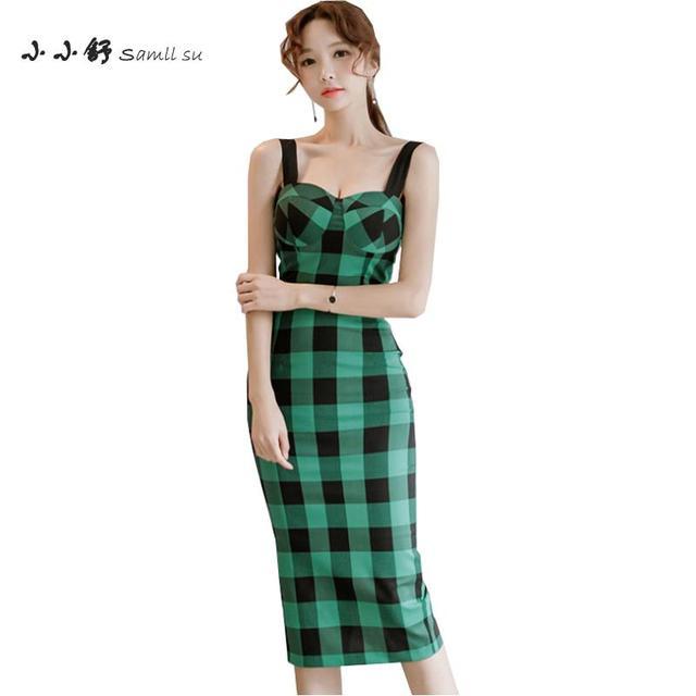 Vestido xadres verde