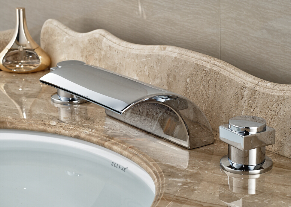 Bathroom Basin Faucet Chrome Finished Deck Mounted Waterfall Mixer Tap Deck Mounted Double Handle chrome deck faucet package wall mounted
