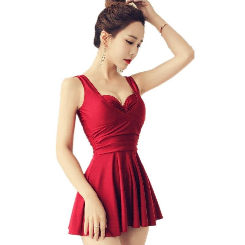 2017 Newest Summer Skirt Bathing Suit Women Sexy Red Black One Piece Swimsuit Strappy Girls Swimwear