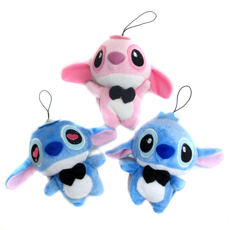 3 Styles Stitch Plush Keychain Kawaii 10cm Lovers LILO Stitch Plush Stuffed Doll String Rope Toy Wedding Bouquet Plush Toys Gift