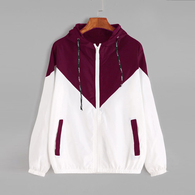 FeiTong Tone splice women jacket casual Hooded Autumn zipper windbreaker jacket Pockets long sleeves coat women's clothing