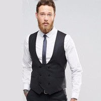 Black double breasted men waistcoat Fashion groom tuxedos vest high quality wedding best man dress Waistcoat