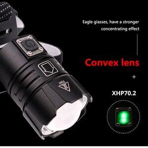 Image 2 - Siêu Sáng XHP70.2 USB Sạc Đèn LED XHP70 Nhất Mạnh MẽKhông Đèn Pha Câu Cá Cắm Trại Zoom Đèn Pin 3 * Pin 18650