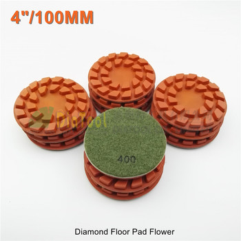 "SHDIATOOL 12pcs 100mm #400 diamond floor sanding disc Flower 4"" Resin bond diamond floor renew polishing pads"
