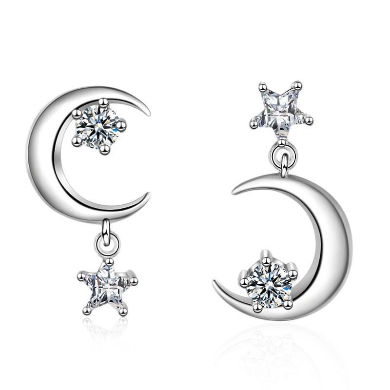 Women Fashion Cute Moon Star Shape Earrings Stud for Kids Solid 925 Sterling Silver Korea Lovely Earrings Gift for Girlfriend