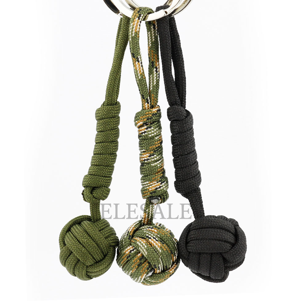 New 3 Color Security Protection Monkey Fist Steel Ball Bearing Self Defense  Lanyard Survival Key
