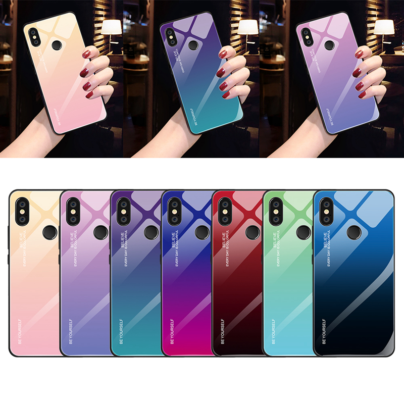 Gradient Tempered Glass Case For Xiaomi Mi 8 Lite Mi A2 Lite A1 Mix 3 Redmi 6 Pro 5 Plus 6A Note 5 6 Pro 7 6 Pocophone F1 Case(China)