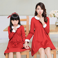 Simple Family Clothes Knee Length One-Piece Girls Dress Family Dress for Mother and Daughter (Colors: Red, Dark Blue) DR05
