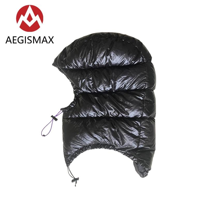 AEGISMAX All'aperto D'oca Urltralight Dow Cappello Cappuccio per Busta Sacco A Pelo Cap nero/oro