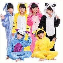 Kids Animal Stars Unicorn Pajamas For Boys Girls Flannel Cartoon  Children Sleepwear Cute Hooded Pijamas Onesies for 4 6 8 10 12